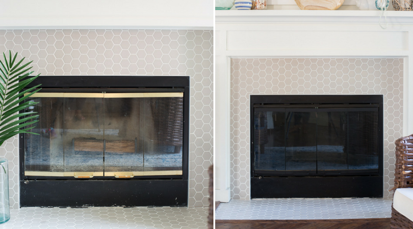 A couple weeks ago a reader asked me if I had ever considered painting the brass hardware on our fireplace. We had completely redone the fireplace surround last year with new tile and Matt even built a gorgeous mantel to go with it. It went from an eyesor