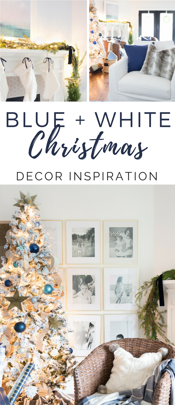 Blue and white Christmas decor #coastalchristmas #blueandwhiteholiday #bluechristmas
