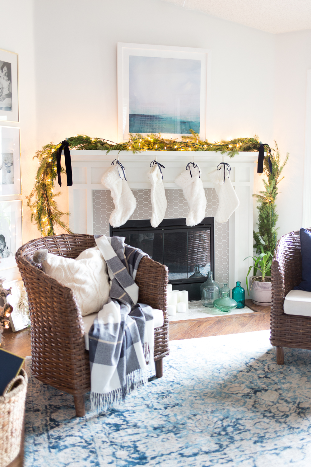 Blue and white decorating for the holidays