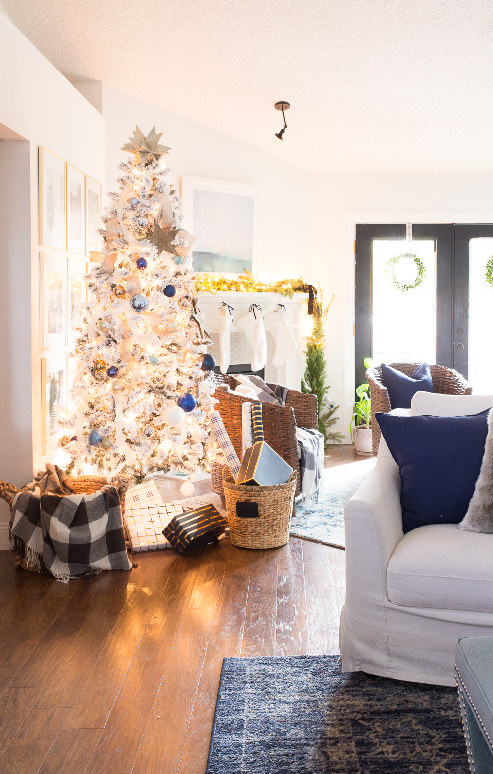 Blue and White Holiday Christmas Decor