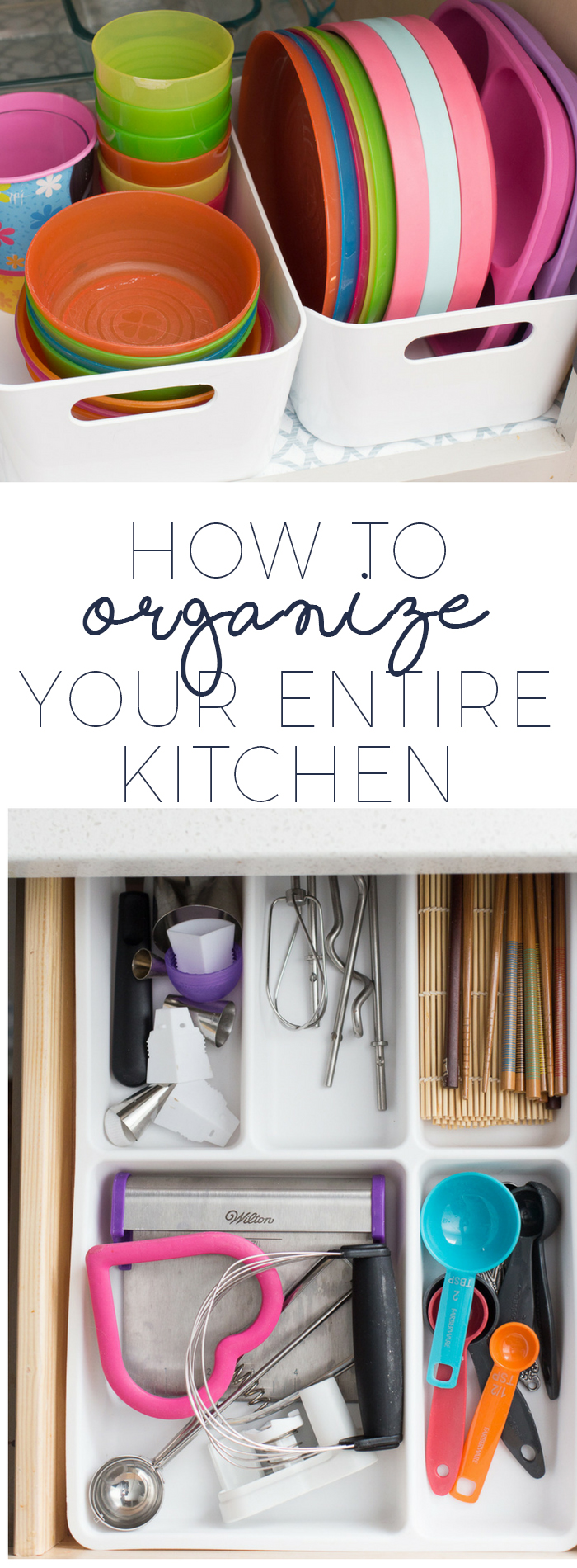 How to organize your entire kitchen. These tips are so helpful to finally tackling the mess that lurks behind the kitchen cabinets.