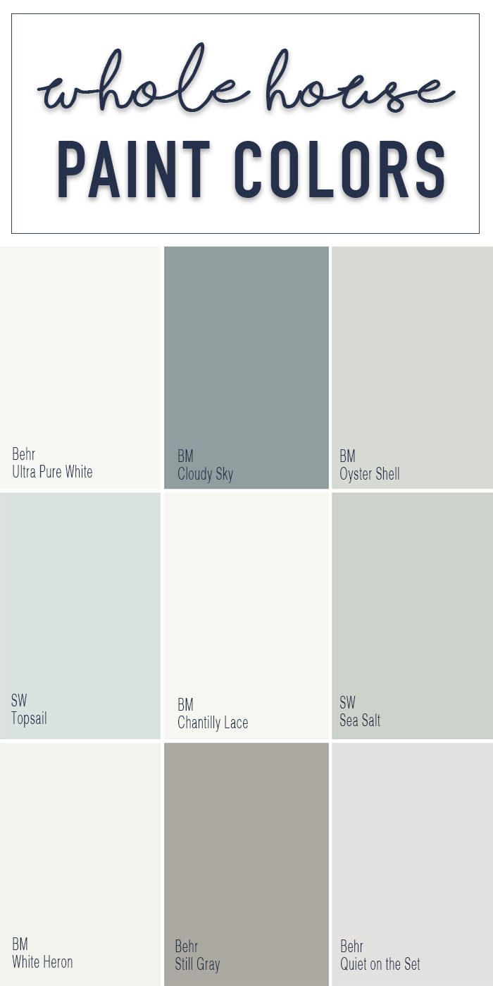 Paint colors for a whole home color palette calming for Paint color palette