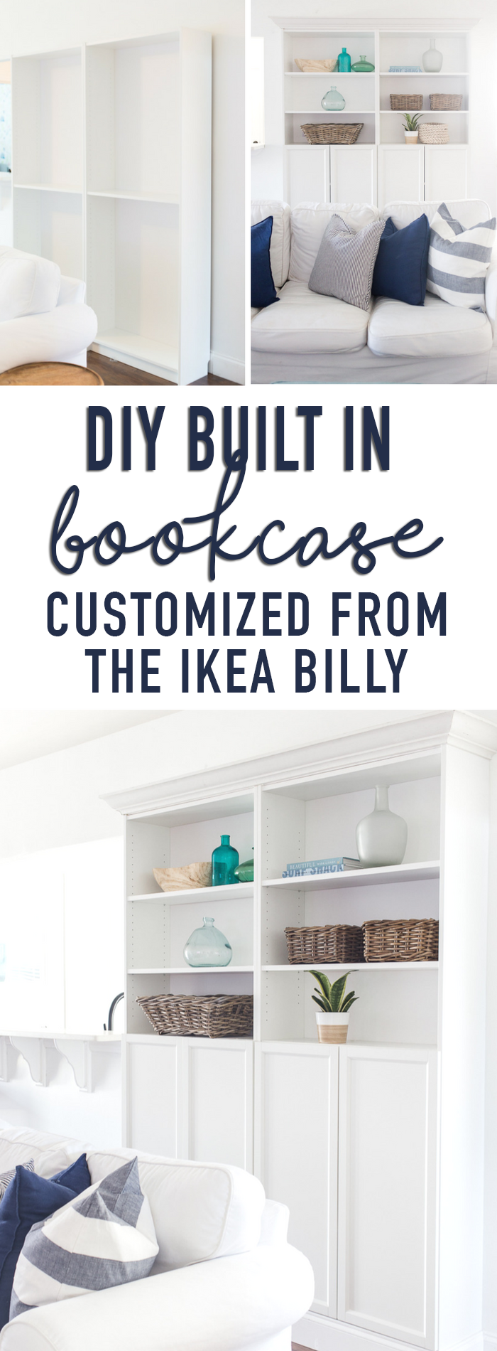 DIY Built In Bookcases customized from the IKEA Billy Bookcase