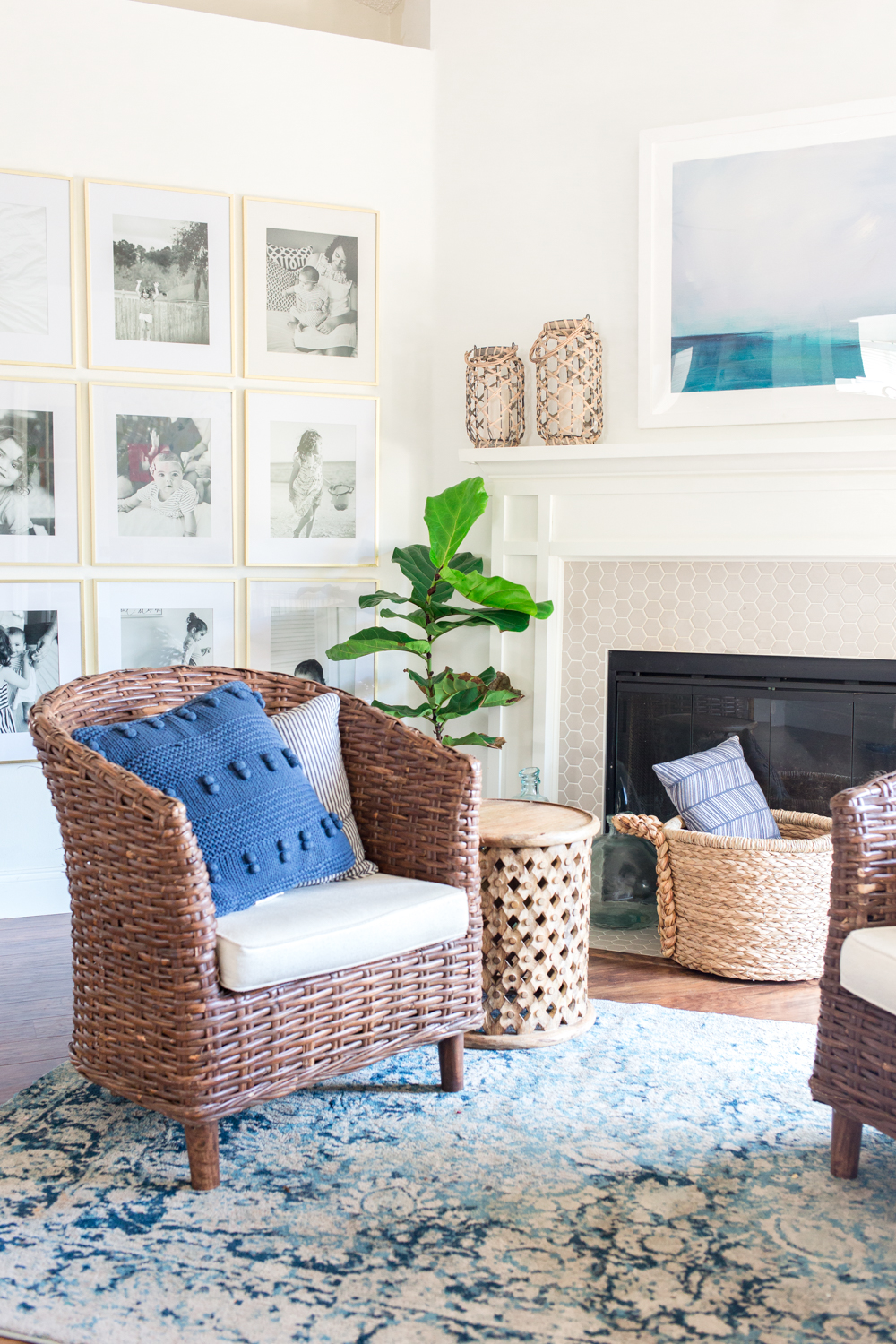 Cozy Coastal Blue and White Living Room