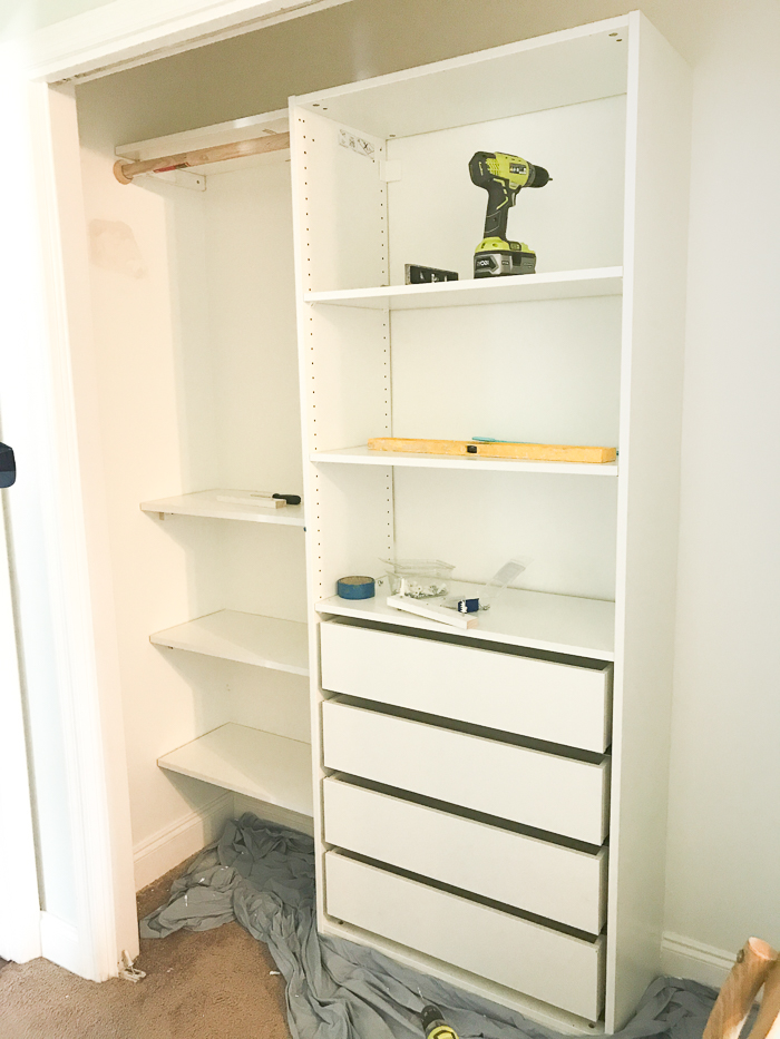 Then We Were Able To Fit The Shelving In Seamlessly. At This Point, Matt  Secured It To The Wall With The Anchors That IKEA Provided.