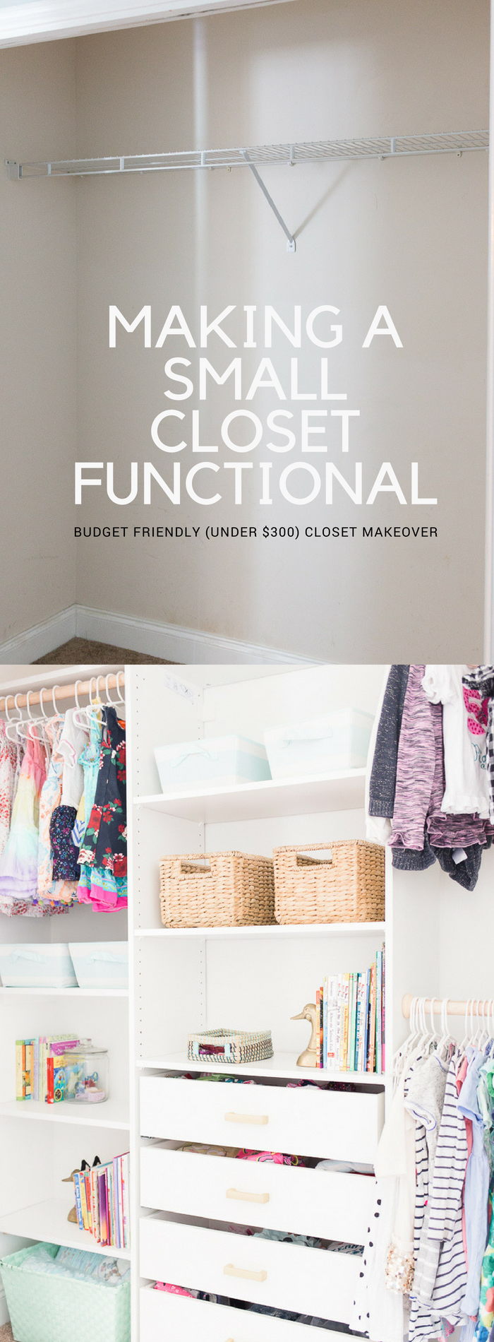 SMALL CLOSET MAKEOVER - How to create a functional and beautiful closet organizer in a small but mighty cloest space for less than $300