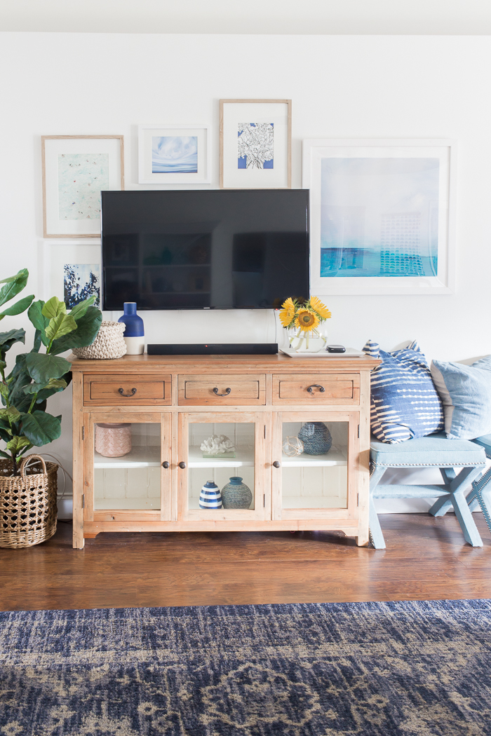 Decorating around a TV for a cozy and elegant look