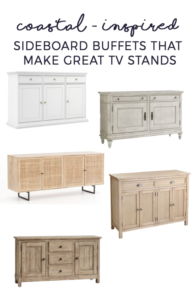 A round up of sideboards and buffets that have a coastal modern look and can be used as tv stands.