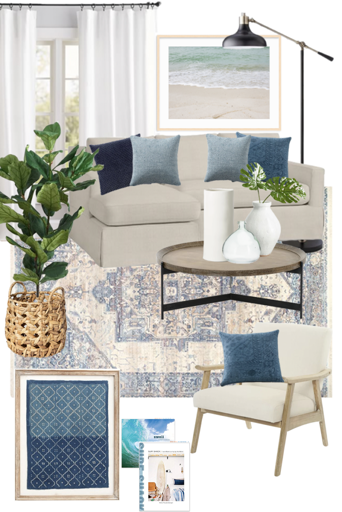 A mood board/design plan for a coastal inspired living room.