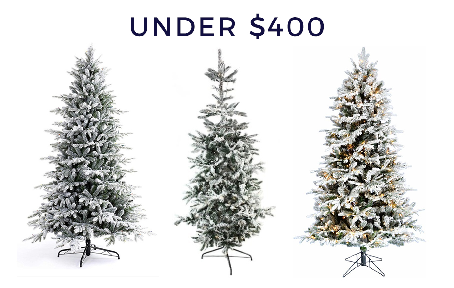 Flocked Christmas trees under $400.
