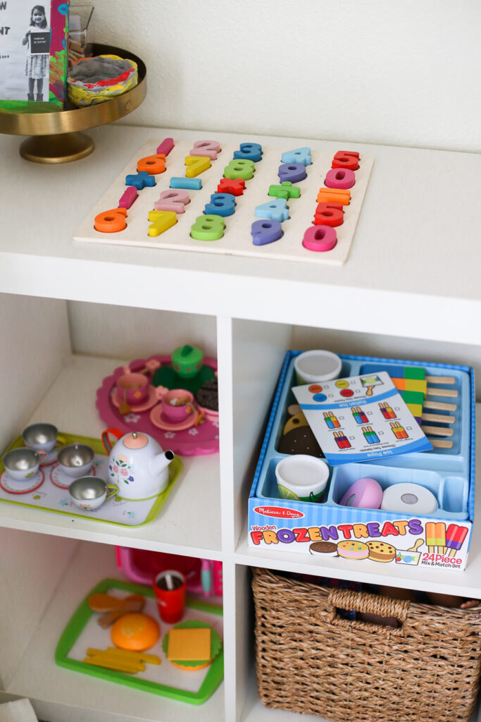 Kids playroom ideas - cubby organizer as a play food station.