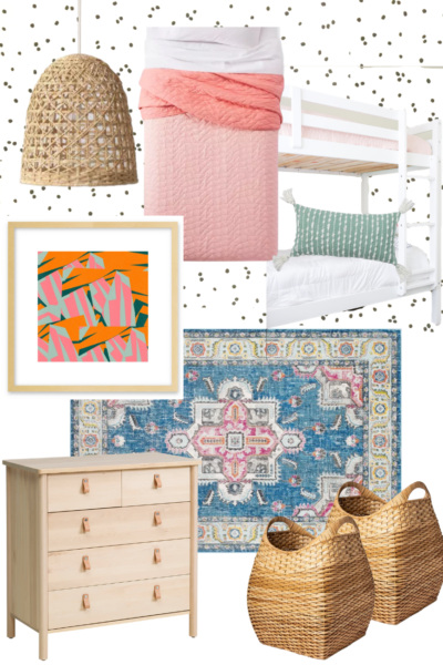 Girls Shared Room - Design Plans for a Colorful and Affordable Girls Room