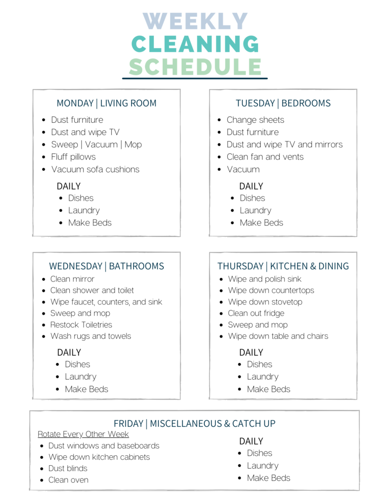 A Weekly Cleaning Checklist For A Cleaner Happier Home A Free Printable