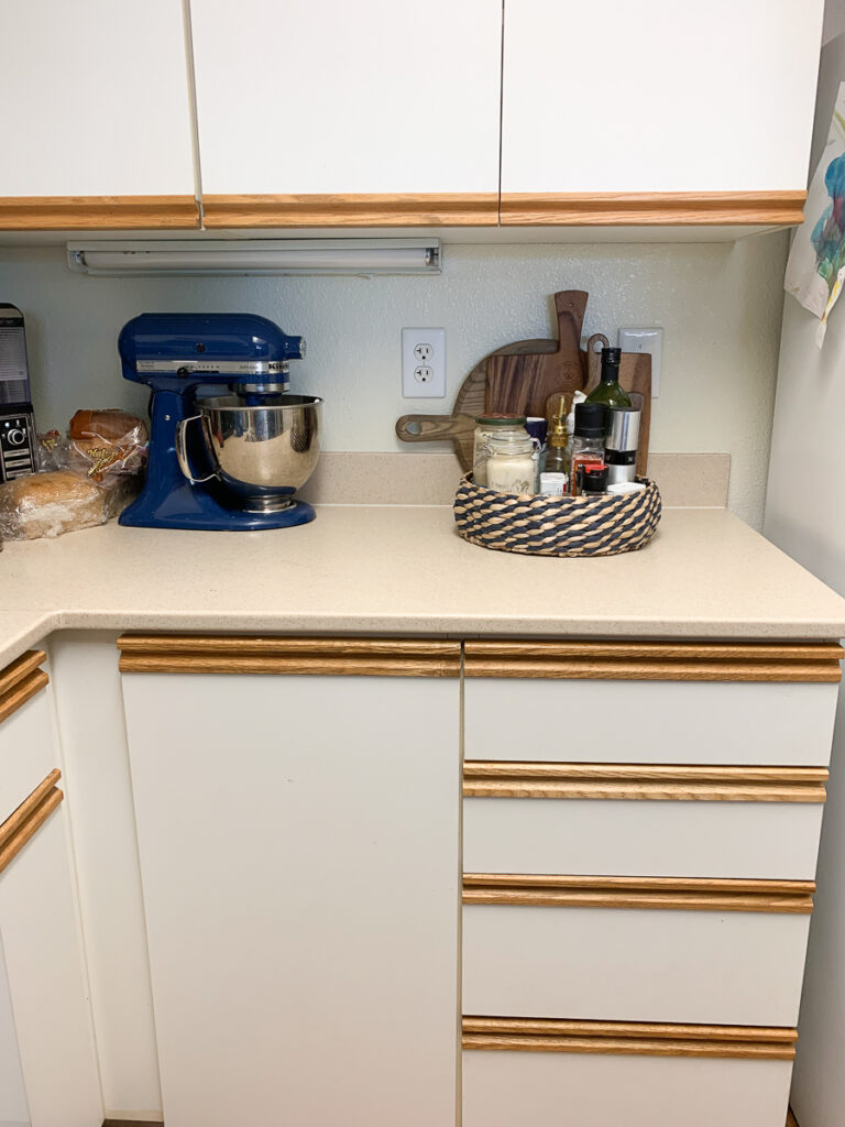 Before the installation of peel and stick backsplash in military base housing kitchen