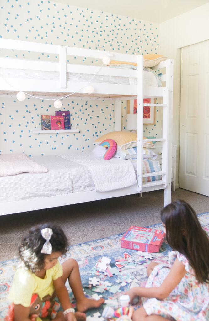 Little girls bedroom with bunkbeds