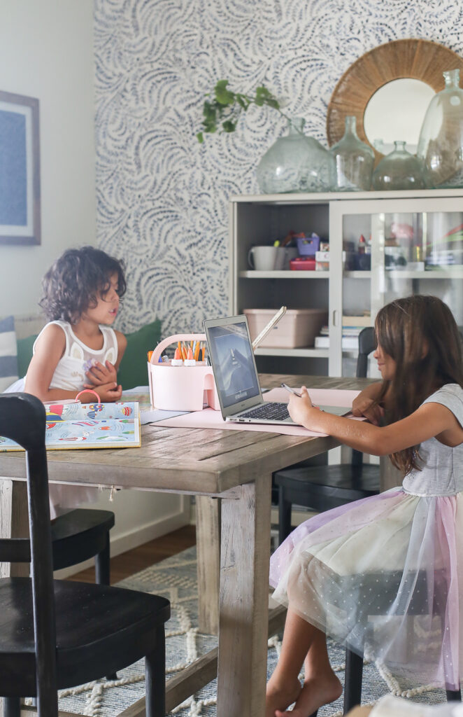homeschooling in the dining room - our homeschool learning space with two elementary aged kids