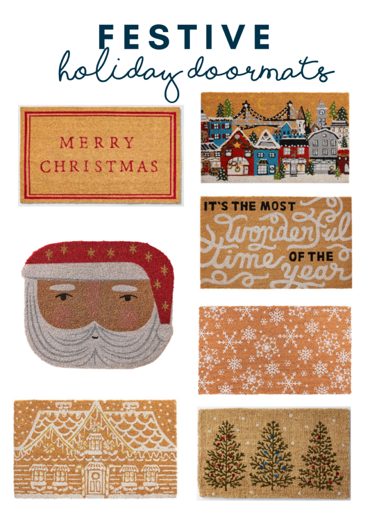 Festive holiday doormats - a round up for adorable doormats to make your front door look more cheerful.