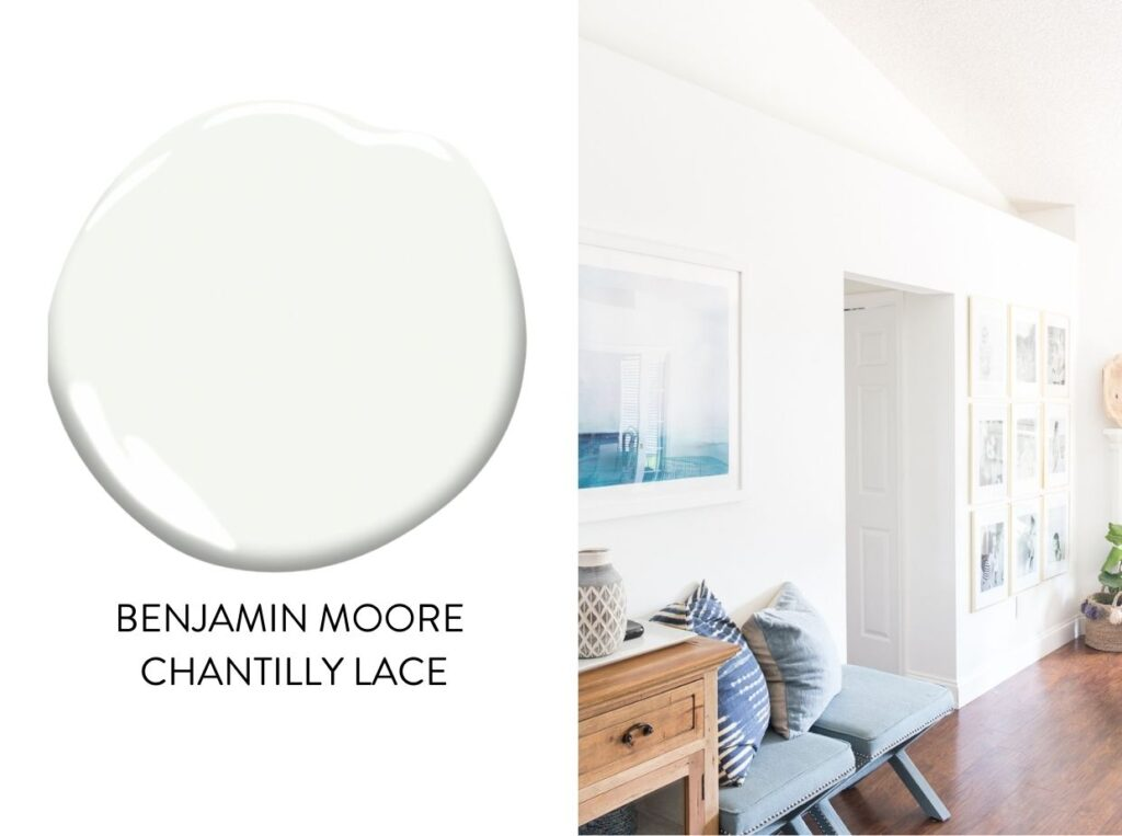 popular paint color Benjamin Moore Chantilly Lace in a real space