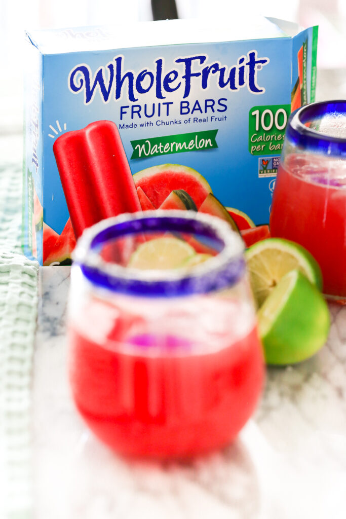 watermelon margarita with a Whole Fruit fruit bar floater