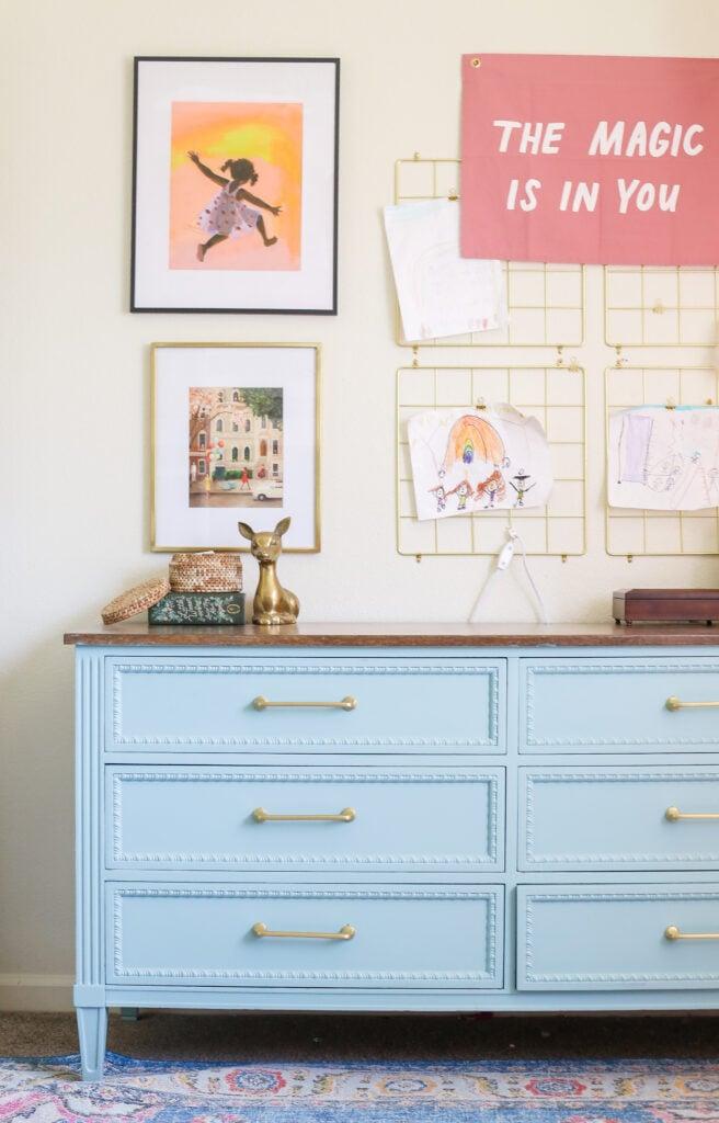 Girls room blue painted dresser