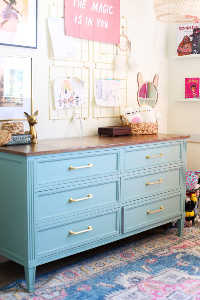 Girls room blue painted dresser with gold drawer pulls
