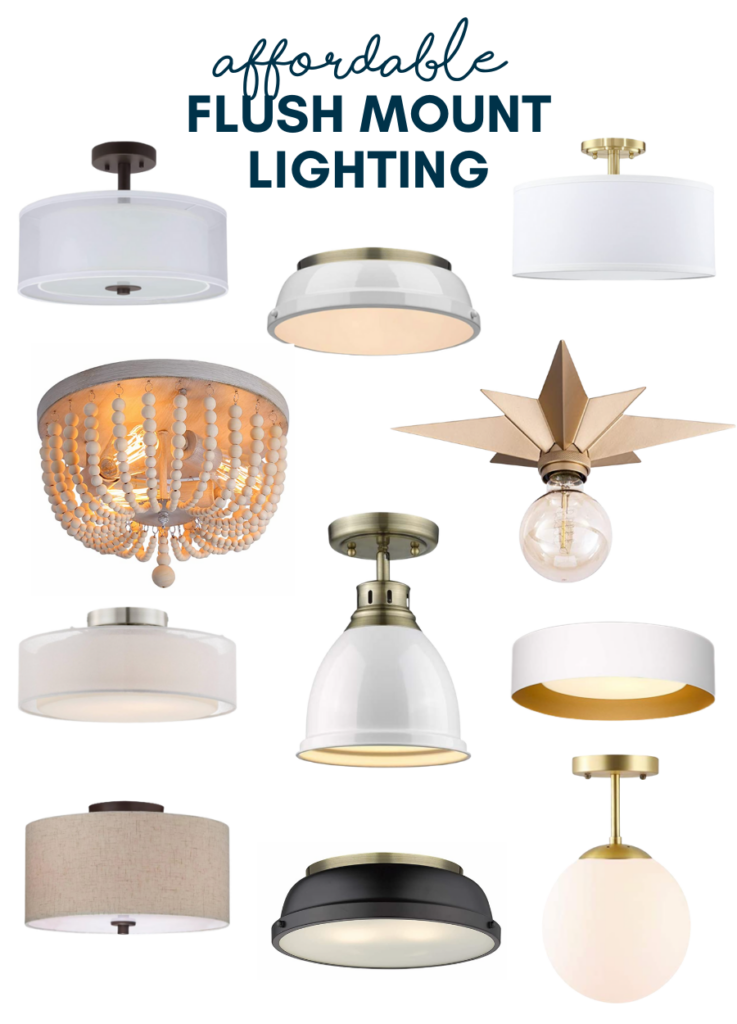 A Round up of affordable flush mount light fixtures. Great options for rentals too!