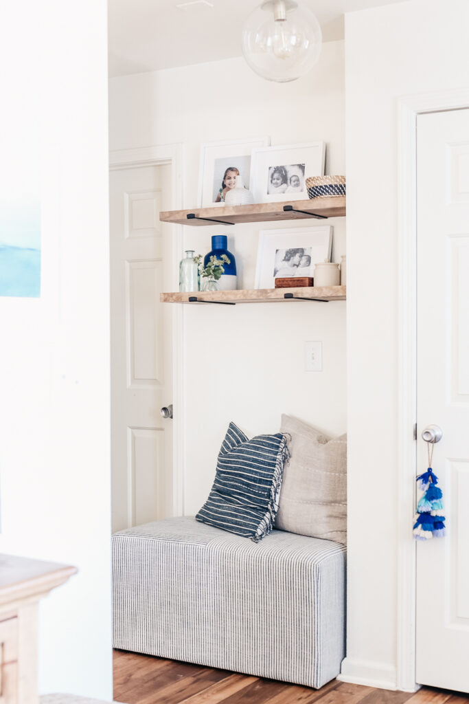 How to elevate a boring nook with floating shelves