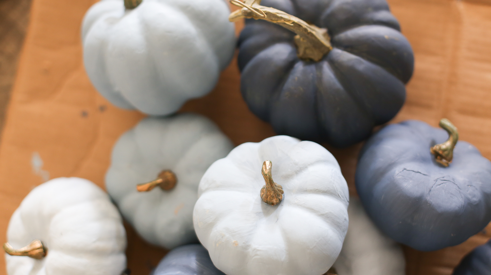 How to Paint Pumpkins Ombre Blue for Fall